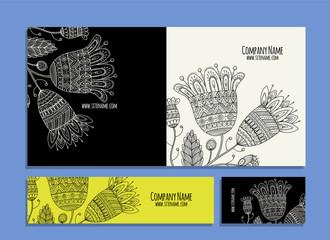Fotobehang - Business cards design, floral background
