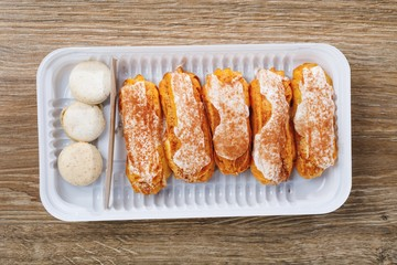 eclairs pastry in blister box