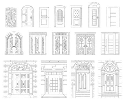 A set of drawn vintage and modern doors of houses and buildings with a black outline.