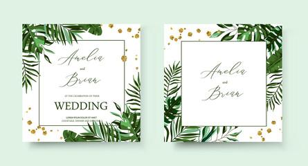 Wedding tropic exotic summer golden geometric triangular frame invitation card Wall mural