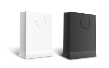 Black and white isolated paper bags for retail shopping