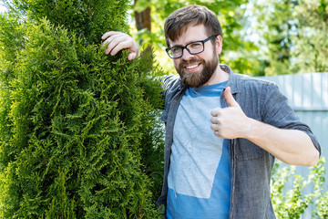 A happy young man is a gardener, grows an thuja evergreen tree, smiles and rejoices at his achievement showing a thumb up gesture. Wall mural