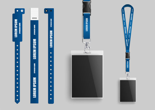 badges id cards with lanyards and bracelets realistic vector illustration template.