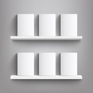 Six white books with blank covers on a bookshelf - realistic mockup of blank book covers standing on shelves