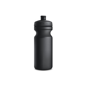 Mockup of black plastic blank sport bottle realistic style