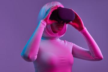 Futuristic female exploring cyberspace
