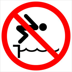warning notice sign do not jump pool