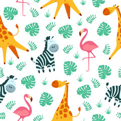 Cute african animals seamless pattern. Vector funny design for children. Repeated ornament with zebra, giraffe and flamingo on white background. Cartoon flat style illustration.