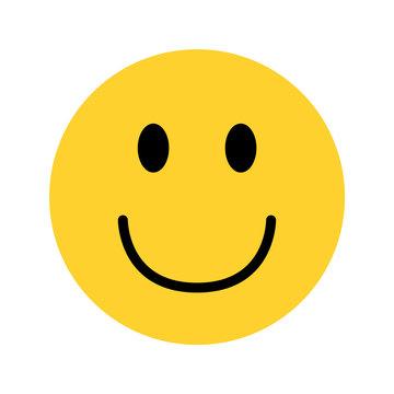 smiley yellow face emoji on white background
