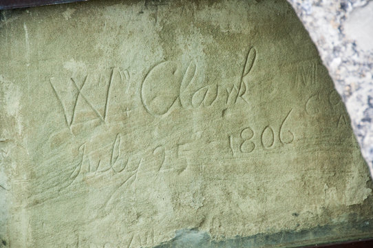 Signature of William Clark, co-leader of the Lewis and Clark Expedition at Pompeys Pillar National Monument in Montana, shown behind the protective one-inch shatterproof glass with bronze frame.