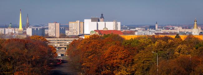 Deurstickers Rood paars Panorama of Leipzig in fall scenery