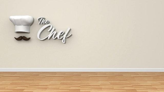Logo chef en pared con suelo de madera