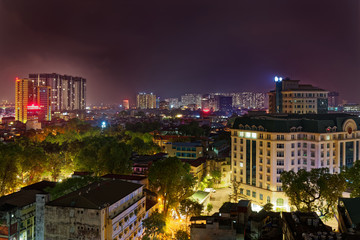 Staande foto Centraal-Amerika Landen Beautiful night view over residential district Bach Dang in Ha Noi city (Hanoi), Vietnam.