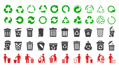 Recycle icons set and trash can icons with man - vector