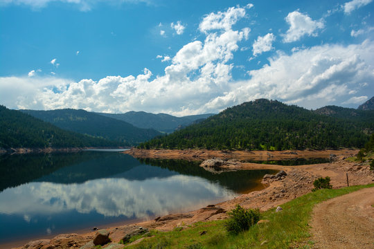 Ralph Price Reservoir west of Longmont, Colorado in the mountains during the day