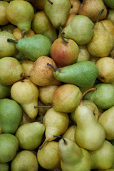 Pear fruit background, close-up. Healthy diet food. Agriculture concept