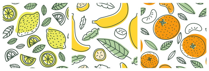 Lamas personalizadas para cocina con tu foto Lemon, banana and orange. Fruit seamless pattern set. Fashion design. Food print for clothes, linens or curtain. Hand drawn vector sketch. Exotic background collection