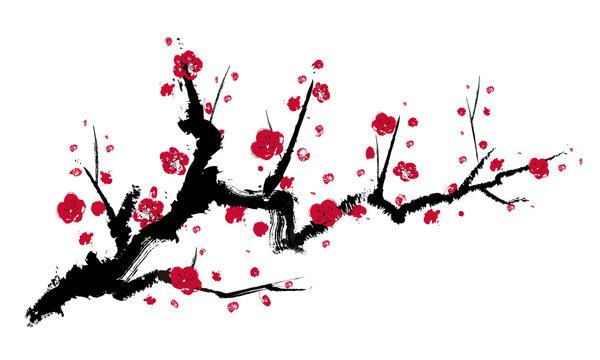 梅の木 墨絵 べクター