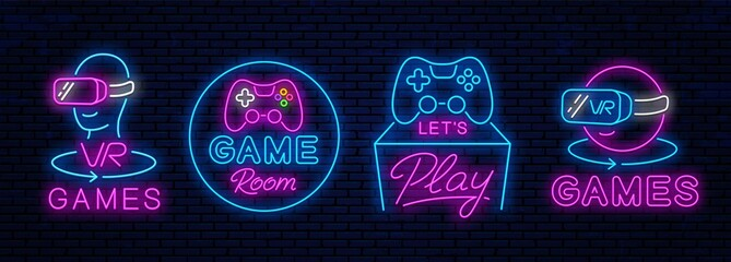 Fototapeta Set of neon icons for decoration in gaming clubs. Vector neon icons, signs for advertising game clubs. Virtual reality and classic. obraz