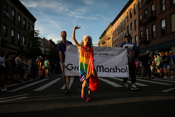 Grand Marshal, LGBTQ activist Desmond Napoles leads off the Brooklyn Pride Twilight Parade in Brooklyn, New York