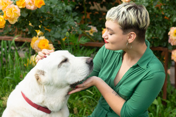 Close-up portrait of a glamorous girl with short blond hair in green dress hugging a funny alabai dog in garden against the backdrop of beautiful yellow rose bushes.