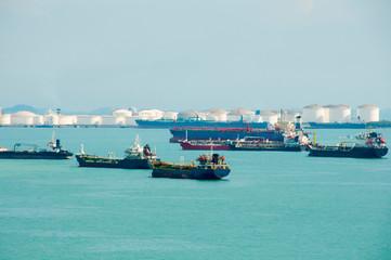 Tanker Ships in Singapore Strait