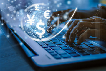 businesswoman uses laptop computer, world currencies, wallet cryptocurrency on virtual screen, fintech financial technology, internet payment, money exchange, digital banking concept Fototapete