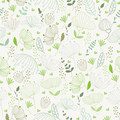 Vector leaves and flower pattern in doodles style  endless print.