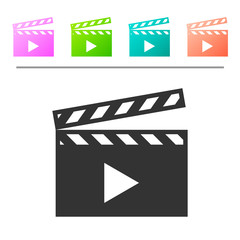 Grey Movie clapper icon isolated on white background. Film clapper board icon. Clapperboard sign. Cinema production or media industry concept. Set icon in color buttons. Vector Illustration