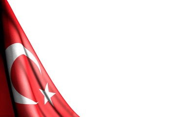 pretty any occasion flag 3d illustration. - isolated picture of Turkey flag hanging in corner - mockup on white with place for your content