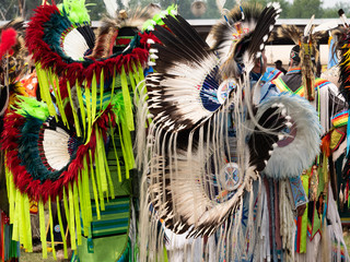 Two Native American Fancy Dancers Waiting to Dance at a Pow Wow