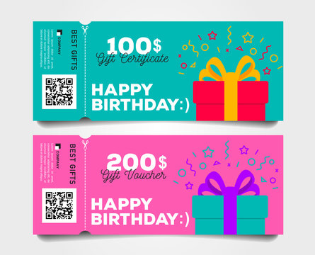 Shopping gift tear-off certificate template set with gift box and dollar numbers vector illustration.