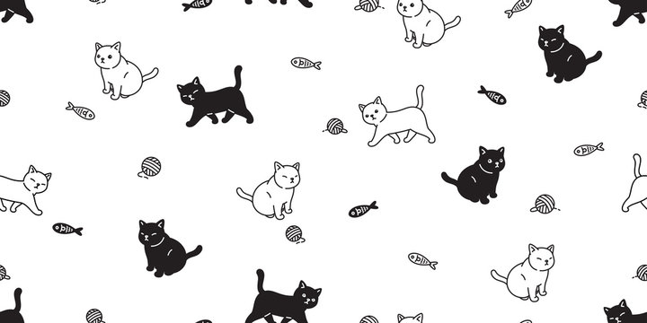 cat seamless pattern vector kitten calico scarf isolated cartoon tile background repeat wallpaper illustration doodle