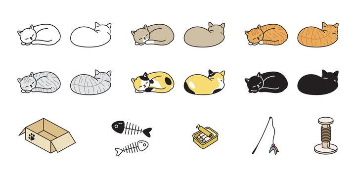 cat vector kitten calico icon logo sleeping toy food box symbol cartoon character illustration doodle design