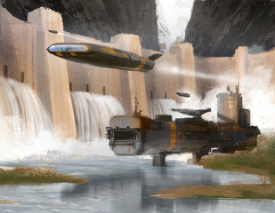Spaceships flying over fantasy Landscape with dam and metal shelter- Digital painting
