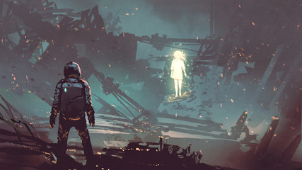 Foto op Plexiglas Grandfailure sci-fi scene of the futuristic man facing the glowing girl in abandoned planet, digital art style, illustration painting