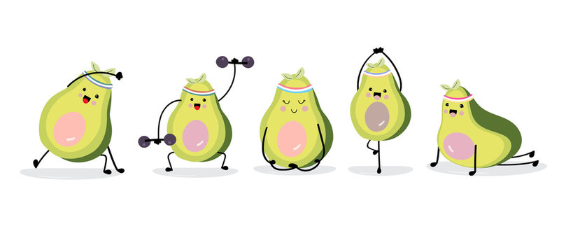 Cute avocado character with exercise. Vector illustration for birthday invitation,postcard and sticker