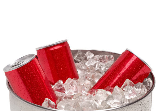 Red blank soda or cola can in crushed ice cubes