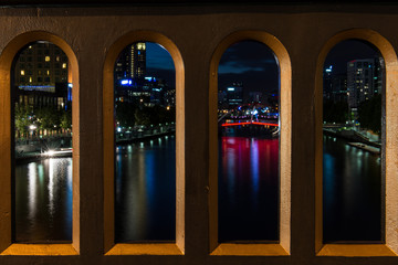 Melbourne city at night in summer, Australia
