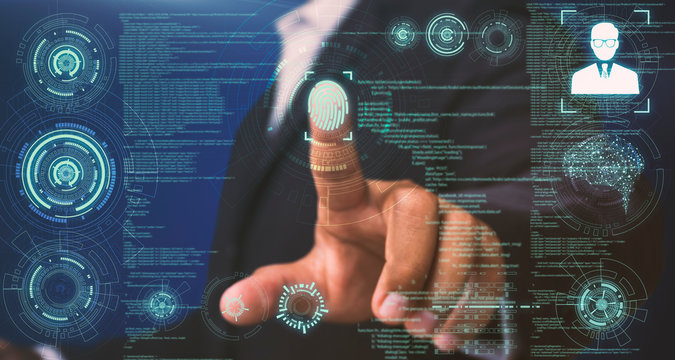 Businessmen touch the on-screen instructions to scan fingerprints to verify personal information with the best security system and the most advanced technology.
