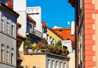 flower garden on the balcony in modern city