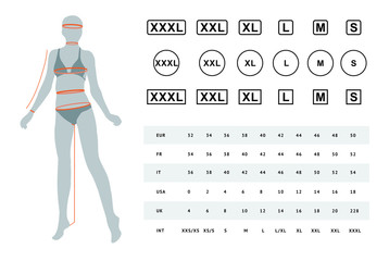 Vector illustration of the dimensions of a female body. The dimensions of the female waist, hips, chest, neck, head, arms, legs. Can be used for female linen, clothes, headwear