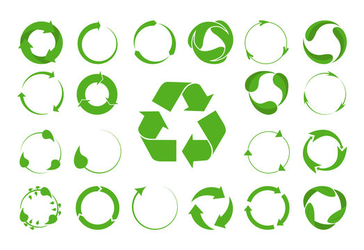 Recycle arrows vector set -ecology icons collection.