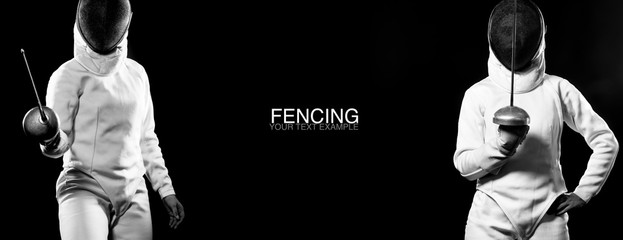 Young fencer athlete wearing fencing costume holding epee and mask. Black background with copy space.