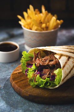 Wrap kebab with french fries