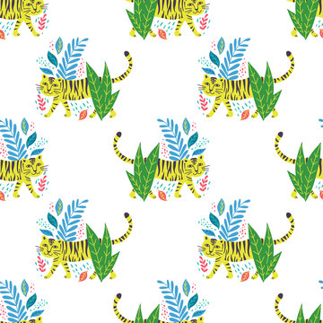 Vector childish tiger seamless pattern