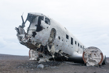 Solheimasandur plane wreck view. South Iceland landmark