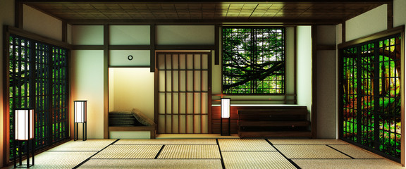 Japan style Big living area in luxury room or hotel japanese style decoration.3D rendering Wall mural