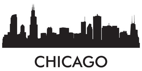Chicago skyline silhouette vector of famous places Fototapete