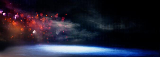 Fond de hotte en verre imprimé Aurore polaire abstract dark concentrate floor scene with mist or fog, spotlight, glitter for display